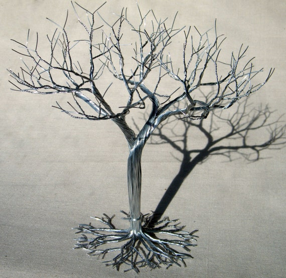 Wedding cake topper wire tree sculpture earring by kunswerk for How to make a wire tree jewelry stand
