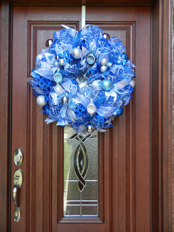 Blue Silver White Christmas Wreath Blue And White Deco Mesh