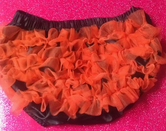 Halloween orange & black  ruffle butt bloomers