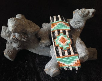 Boho cuff bracelet in native style