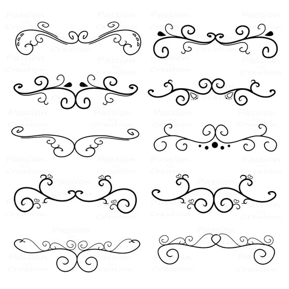 Drawing Lines For Calligraphy : Flourish swirls border calligraphy decorative etsy