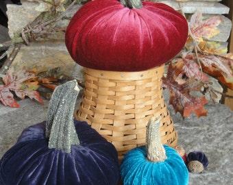 Handmade Plush velvet pumpkin with real dried stems. Velvet acorns with real acorn caps.