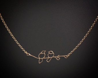 Vermeil Sterling Silver Gold plated Bird Branch Necklace