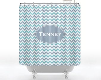 Personalized Shower Curtain With Last Name for Your Bathroom - Fancy Chevron Monogram Shower Curtain With Last Name