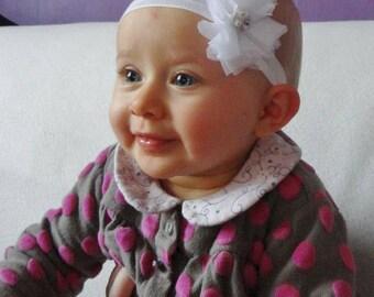 Headband baby baptism  bridal wedding white tulle flower - Bandeau de tête pour bébé fleur de tulle blanche idéal baptéme mariage