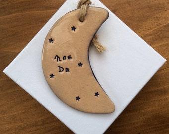 Nos Da handmade ceramic decorative Welsh moon gift made in Wales