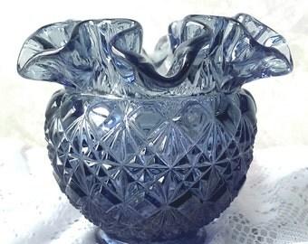 Stunning FENTON Navy Blue Glass Vase