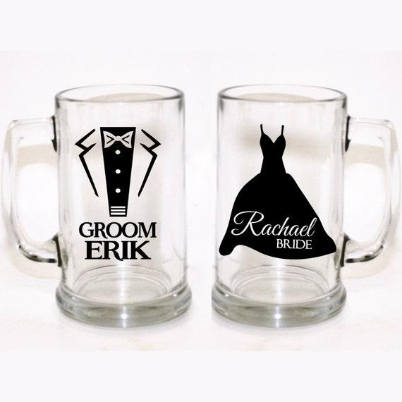 Customized Wedding Mugs : Custom Bride and Groom Glasses, Custom Wedding Glasses, Custom Beer ...