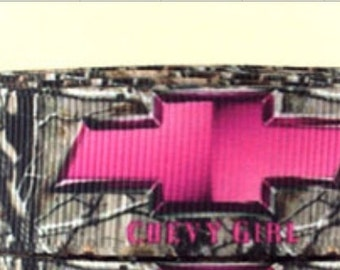 "3 Yards of Pink Chevy Camo 7/8"" grosgrain ribbon"