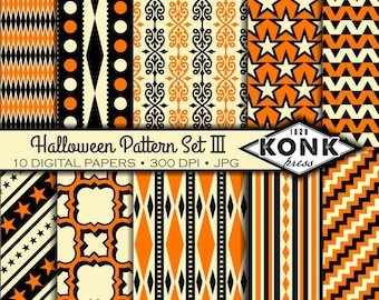 10 Digital Halloween Papers in Black, Orange & Cream, JPG, 300 dpi, 12x12 inches, Set 3 of 3,