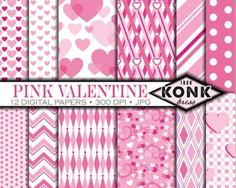 12 Digital Paper Pink Valentine's Day scrapbook paper JPG, 300 dpi, 12x12 inch papers