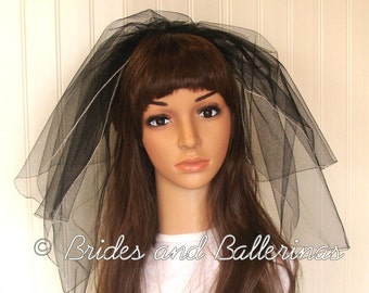Black and Silver Wedding/Bachelorette Veil