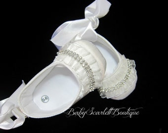 White Ruffle Baby Girl Shoes,Infant Shoes,Christening Shoes