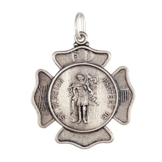 St Florian Necklace: Saint Florian Pendant In Sterling Silver