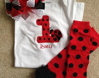 Red and black ladybug birthday outfit 1st birthday bodysuit hairbow and leg warmers