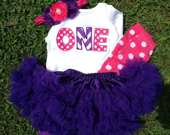 Pink and purple chevron birthday outfit - 1st birthday bodysuit, skirt, leggings, and headband - ONE 1st birthday outfit