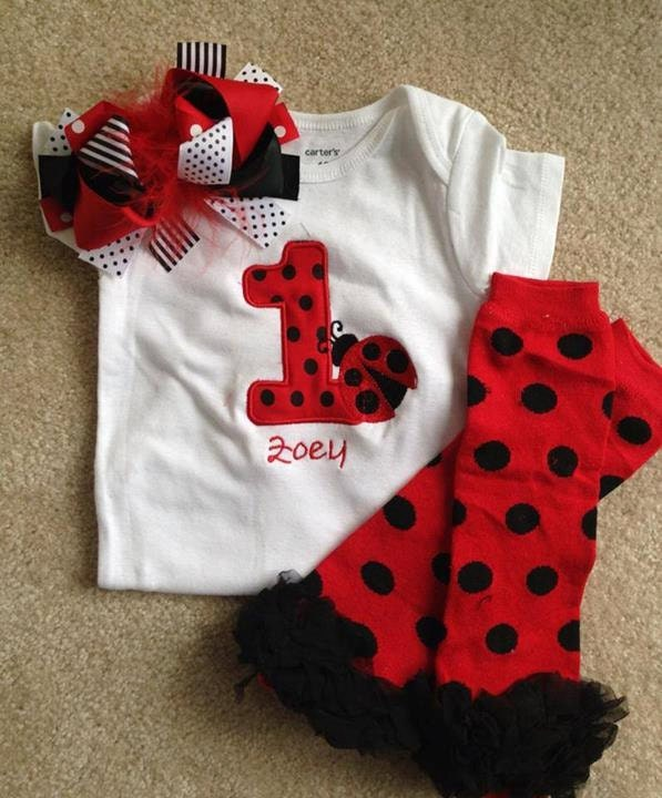 Red And Black Ladybug Birthday Outfit 1st Birthday Bodysuit