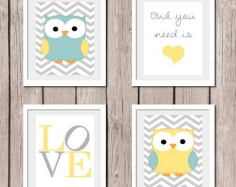 "INSTANT DOWNLOAD - Set of 4 Prints Yellow - Owl You Need is LOVE - Printable Nursery Wall Art Print 8""x10"" (jpeg file) Bedroom Decor"