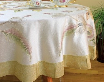"""Hand Painted Floral Round Tablecloth (Beige, 70"""" Round)"""