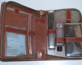 Men's Travel Shaving Vanity Toiletry Leather Kit Wash Bag by Sun