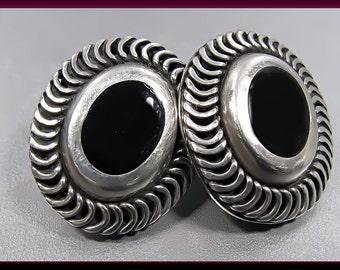 Sterling Silver Vintage Onyx Earrings