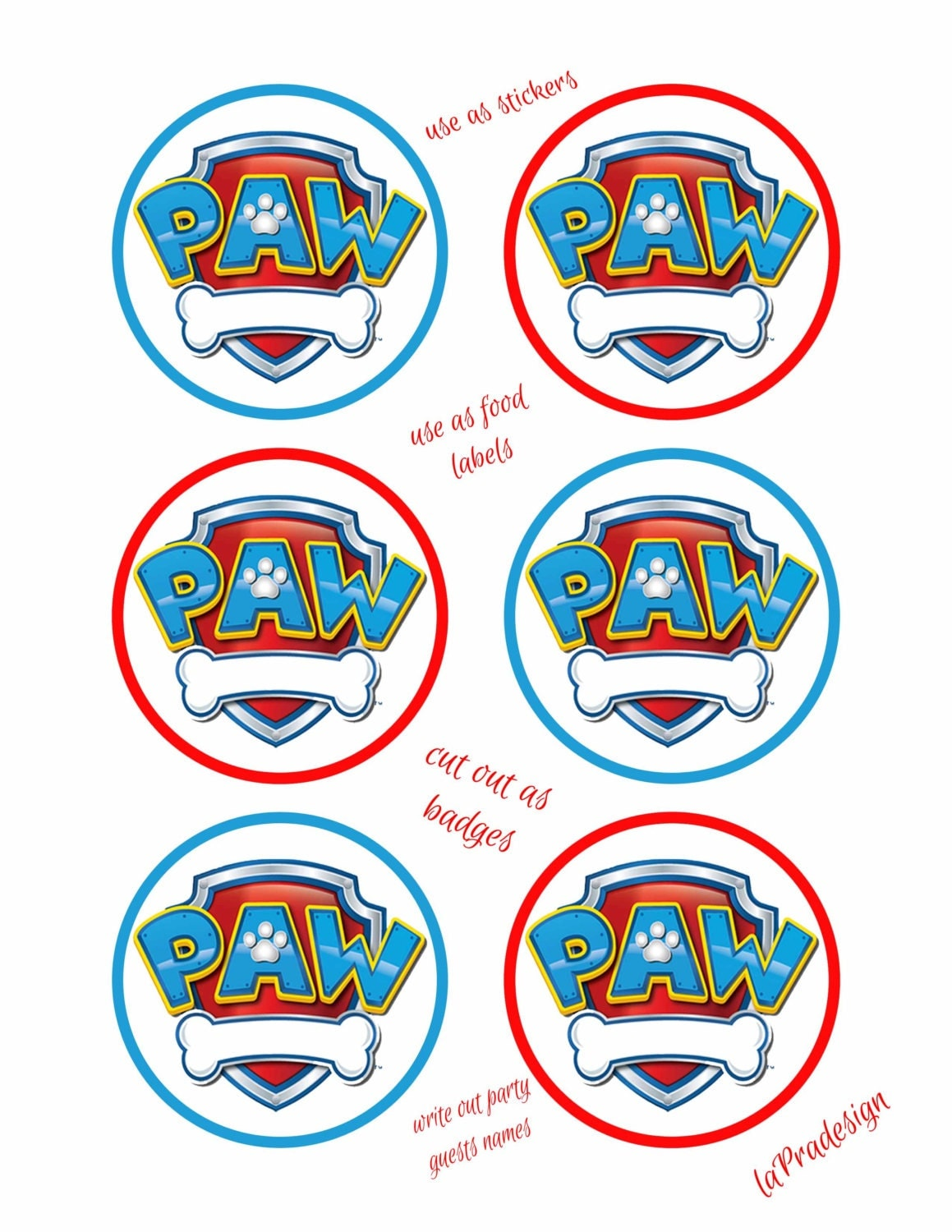 Sly image with free printable paw patrol badges