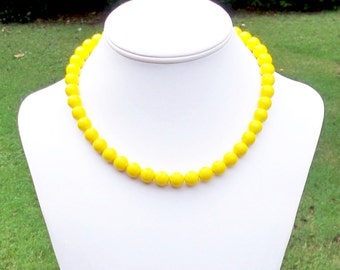 Kindra - Simple Yellow Beaded Necklace - 10mm Round Sunny Yellow Czech Glass Beads