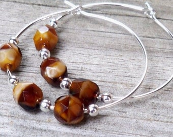 Maisey - Faceted Multicolor Brown Glass Silver Hoop Beaded Earrings - 30mm Round