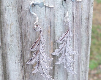 Stevie - Silver Leaf Dangle Fish Hook Earrings