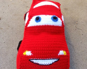 Crochet Red Race Car Stuffed Plush Cuddle Pillow, Made to Order