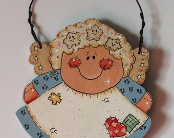 Tole Painted Wood Angel Ornament