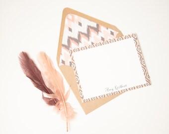 Boho Stationery Tribal Stationery Ikat Personalized Stationery Set - 6 Kraft Lined Envelopes with Peach Ikat and 6 White Flat Cards