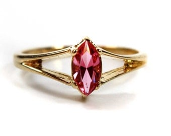 Vintage Pink Austrian Crystal Gold Tone Ring Victorian Style 18k Gold Plated Made in USA October Birthstone#R950