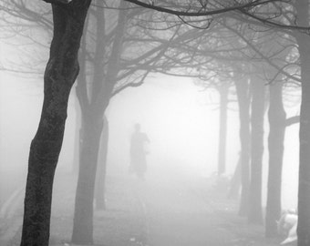 Fog Walk Art Print, Black and White Photography, Trees and walker in the fog in Dublin, wall art