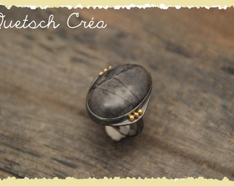 Ring Silver 925 skated, Jasper Picasso & gold