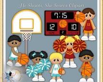 Basketball Clipart, Cheerleader, Sports, He Shoots, She Scores