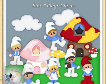 Blue Village Birthday Party Clipart