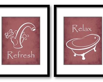 INSTANT DOWNLOAD Bathroom Decor Print Set of 2 Printable Art Print Red Cranberry Refresh Relax Wall Decor Bathtub Tub Burgundy Rust Modern