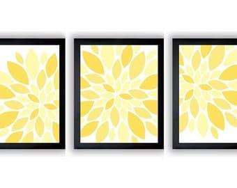 INSTANT DOWNLOAD Yellow White Dahlia Flower Set of 3 Art Printable Abstract Art Flower Print Wall Decor Modern Minimalist Bathroom Bedroom