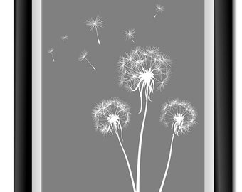 INSTANT DOWNLOAD Grey Gray White Dandelion Printable Art Digital Print Wall Decor Bathroom Bedroom Custom Modern Miminimalist Flower