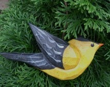 Hand Carved Bird Ornament (GoldFinch)