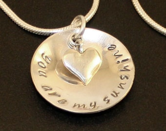 You are my sunshine necklace, personalized sterling silver necklace, father daughter gift mothers day, you are my sunshine jewelry