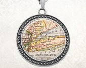 Long Island NY Map Pendant Necklace Resin Pendant Art Pendant Jewelry Pendant
