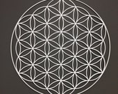 """Flower of Life Metal Wall Art 24"""" in Silver or White"""