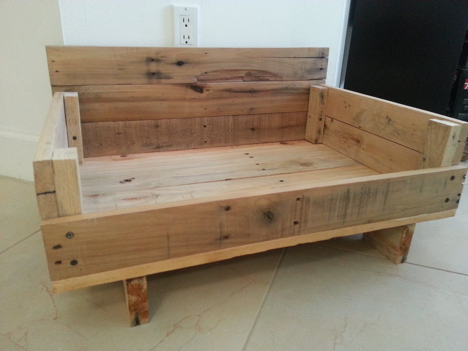 Very Impressive portraiture of Reclaimed Wood Dog Bed Mission Style by StudioFitolli on Etsy with #8A6B41 color and 1500x1125 pixels