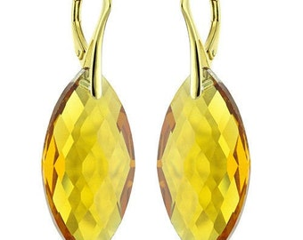 14k Gold Over 925 Sterling Silver Marquise Swarovski Crystal Leverback Earrings