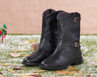 Handmade Black Boots for women, Flat Shoes, Casual Shoes, Soft Shoes, Short Boots, Brown Boots, Black Shoes