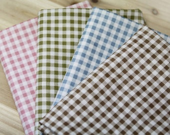Twill Cotton Fabric 5mm Plaid in 4 Colors By The Yard