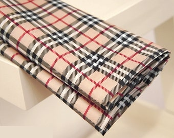 Waterproof Fabric Plaid Beige By The Yard