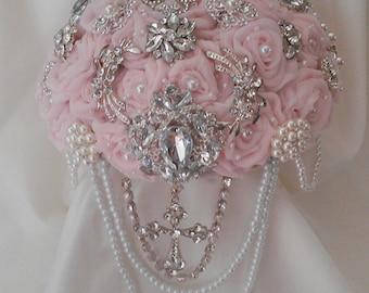 Elegant Christian Cascading Brooch Bouquet Depoist